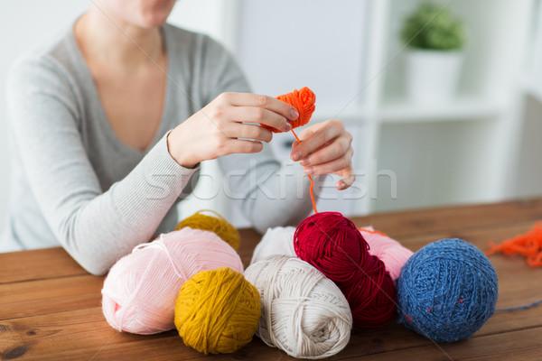 女性 糸 アップ ボール ストックフォト © dolgachov