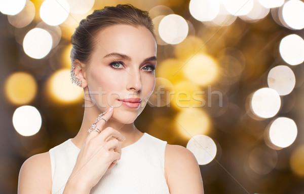 Nő fehér gyémántgyűrű fülbevaló ékszerek luxus Stock fotó © dolgachov