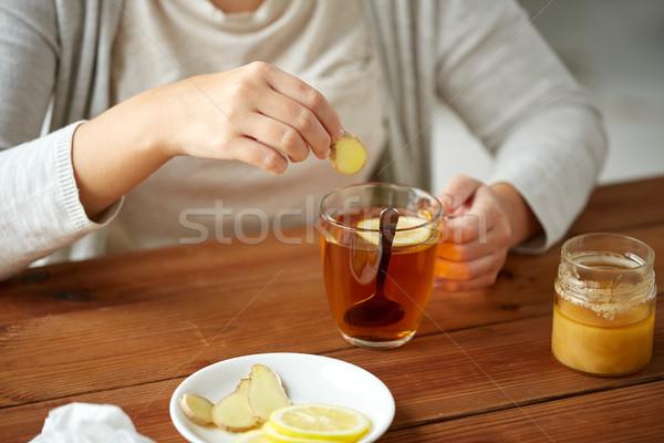女性 生姜 茶 レモン 健康 ストックフォト © dolgachov