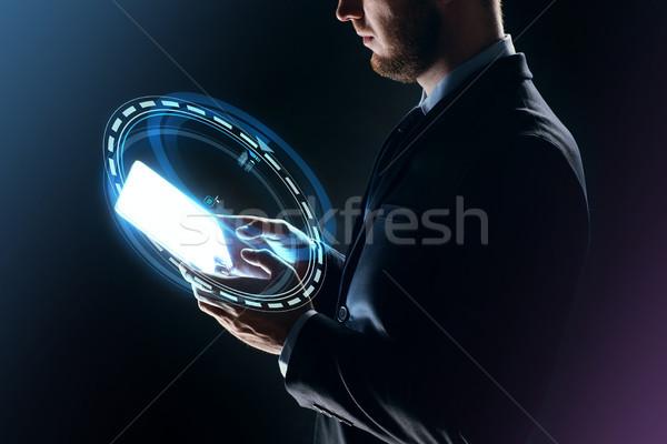ストックフォト: ビジネスマン · ホログラム · ビジネスの方々 · 将来 · 技術