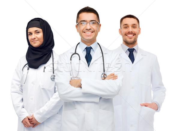 Mutlu doktorlar beyaz tıp sağlık insanlar Stok fotoğraf © dolgachov