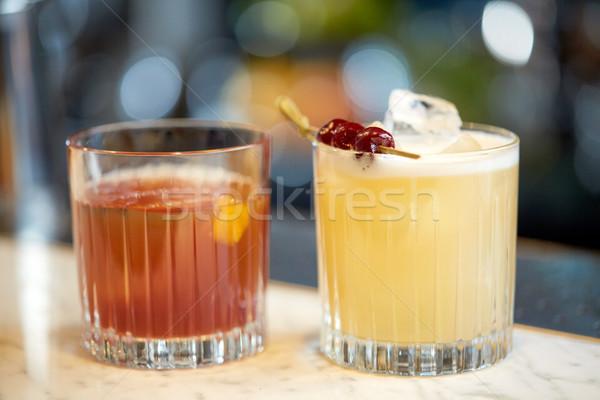 glasses of cocktails at bar Stock photo © dolgachov
