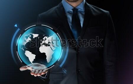 Zakenman aarde projectie business virtueel Stockfoto © dolgachov