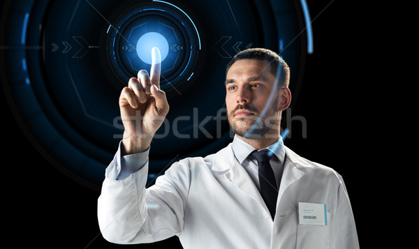 doctor or scientist with virtual projection Stock photo © dolgachov