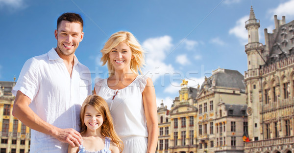 happy family over grand place in brussels city Stock photo © dolgachov