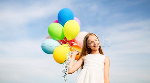 ストックフォト: 幸せな女の子 · サングラス · 空気 · 風船 · 夏 · 休日
