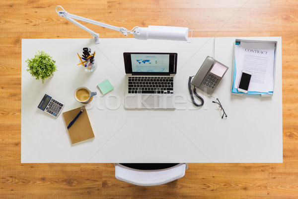 laptop, phone and other office stuff on table Stock photo © dolgachov
