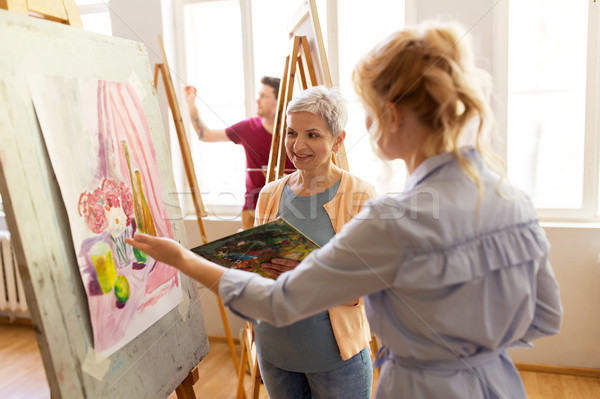 Megbeszél festmény festőállvány művészet iskola kreativitás Stock fotó © dolgachov