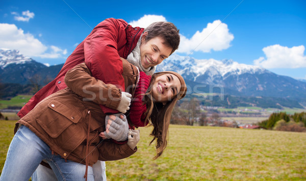 Boldog fiatal pér szórakozás Alpok hegyek turizmus Stock fotó © dolgachov
