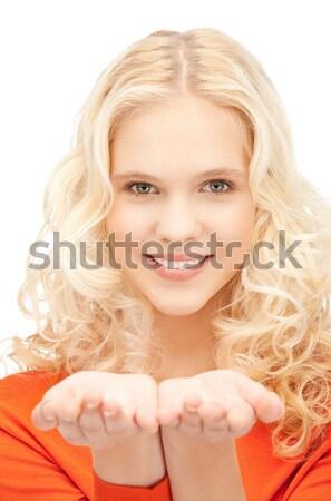 Uśmiechnięty topless blond zdjęcie biały uśmiech Zdjęcia stock © dolgachov