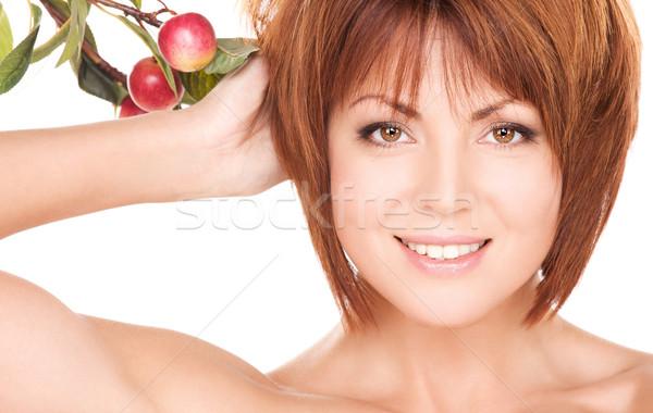 Stockfoto: Gelukkig · vrouw · appel · takje · foto · gezicht