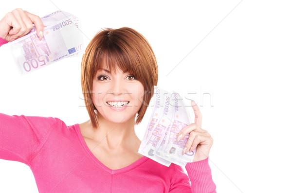 Stok fotoğraf: Mutlu · kadın · para · resim · beyaz · alışveriş