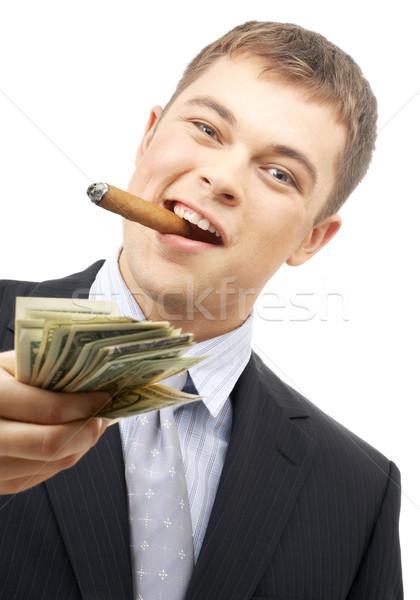 smoking gangster holding dollar bills Stock photo © dolgachov
