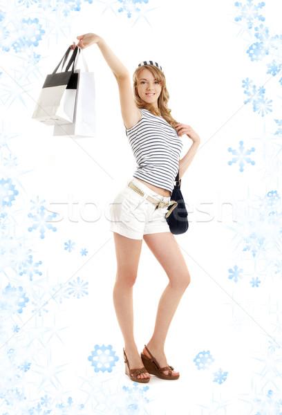 Fiocchi di neve felice bellezza Foto d'archivio © dolgachov