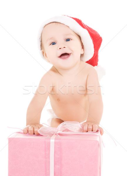 Mikulás segítő baba karácsony ajándék fehér Stock fotó © dolgachov