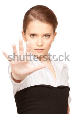 Durdurmak parlak resim genç kadın jest Stok fotoğraf © dolgachov
