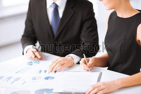 Zespół firmy spotkanie grafiki zdjęcie działalności Zdjęcia stock © dolgachov