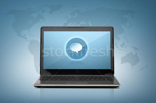 Stok fotoğraf: Dizüstü · bilgisayar · metin · kabarcık · ekran · teknoloji · Filmi