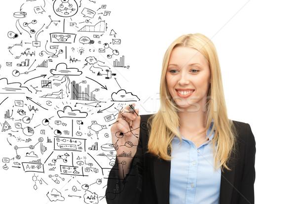 Mosolyog üzletasszony rajz nagy terv levegő Stock fotó © dolgachov
