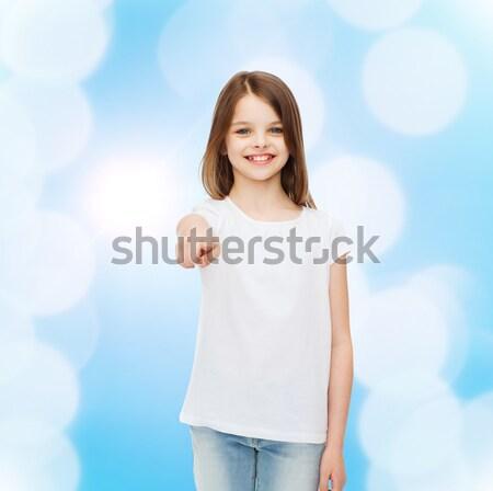 little girl in blank white tshirt showing thumbsup Stock photo © dolgachov