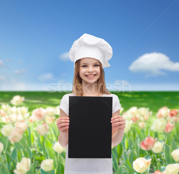 Kicsi szakács pék fekete papír főzés Stock fotó © dolgachov