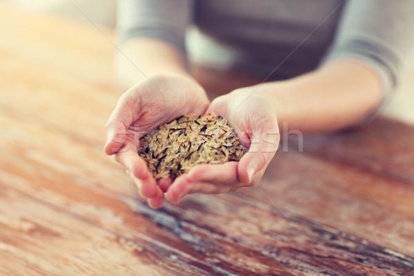 Stok fotoğraf: Kadın · beyaz · siyah · pirinç · palmiye