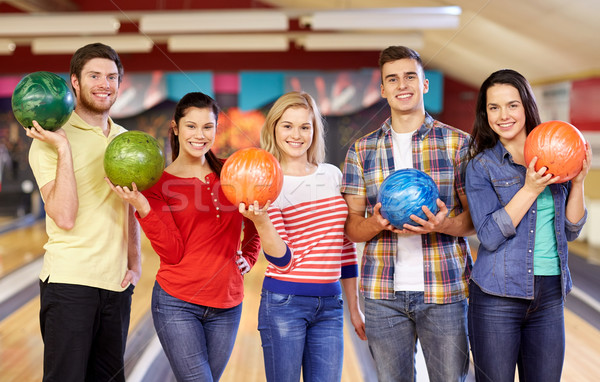 Photo stock: Heureux · amis · bowling · club · personnes · loisirs