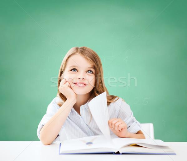 Photo stock: Heureux · étudiant · fille · livre · école · éducation