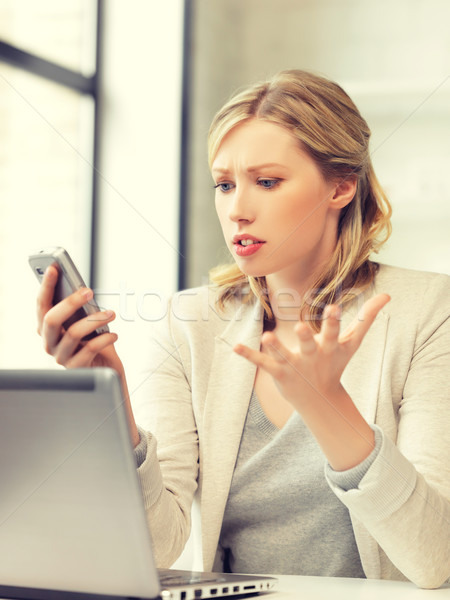 confused woman with cell phone Stock photo © dolgachov