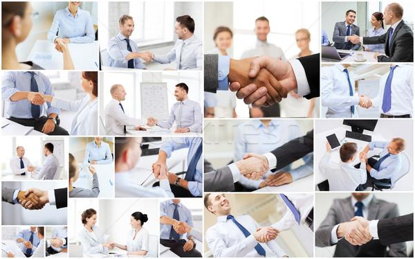 collage with business handshake Stock photo © dolgachov