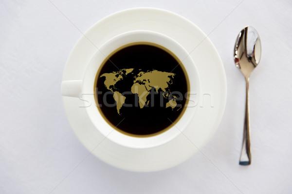 Stok fotoğraf: Dünya · haritası · fincan · siyah · kahve · kaşık · içecekler · enerjik