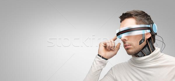 Mann futuristisch 3D-Brille Menschen Technologie Zukunft Stock foto © dolgachov