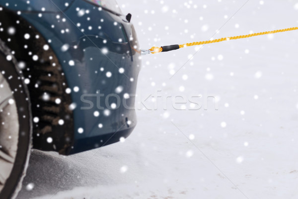 closeup of towed car with towing rope Stock photo © dolgachov