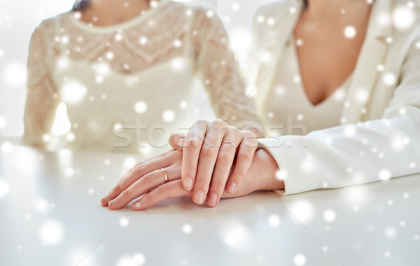 close up of lesbian couple hands with rings Stock photo © dolgachov