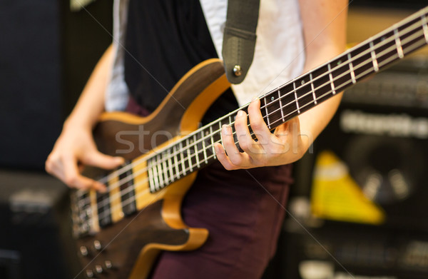 close up of musician with guitar at music studio Stock photo © dolgachov