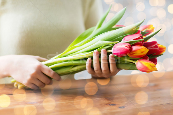 Stock photo: close up of woman holding tulip flowers