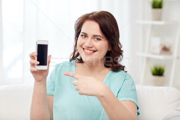 Stock fotó: Boldog · plus · size · nő · okostelefon · otthon · emberek