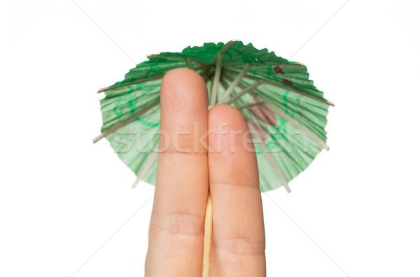 Due dita cocktail ombrello gesto Foto d'archivio © dolgachov