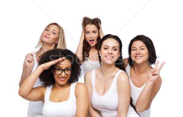 Grupy szczęśliwy kobiet biały bielizna Zdjęcia stock © dolgachov