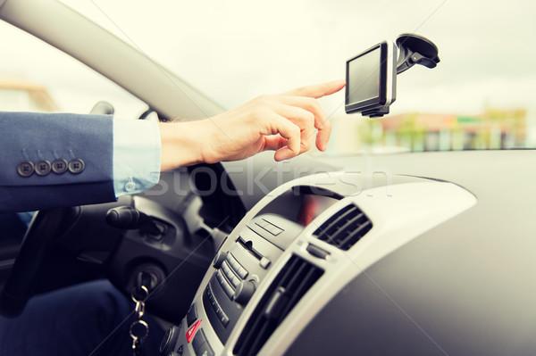 Człowiek GPS jazdy samochodu transportu Zdjęcia stock © dolgachov