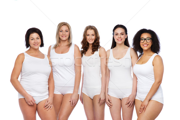 d57fb7efa4c  7508451 group of happy different women in white underwear by dolgachov  Stock photo