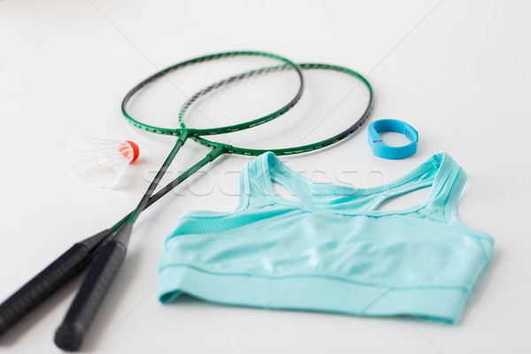 close up of badminton rackets with shuttlecock Stock photo © dolgachov