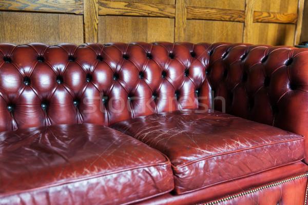 close up of vintage leather sofa Stock photo © dolgachov