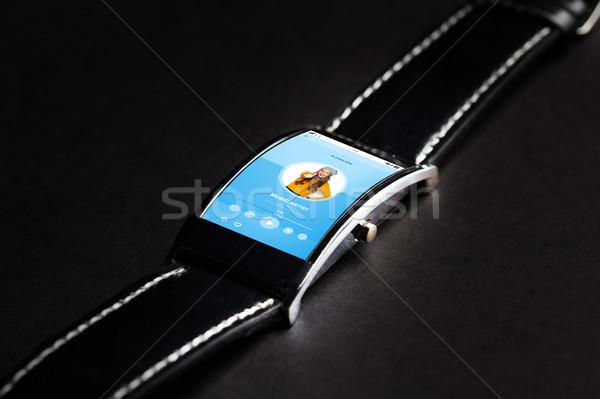 Közelkép okos óra zene modern technológia Stock fotó © dolgachov