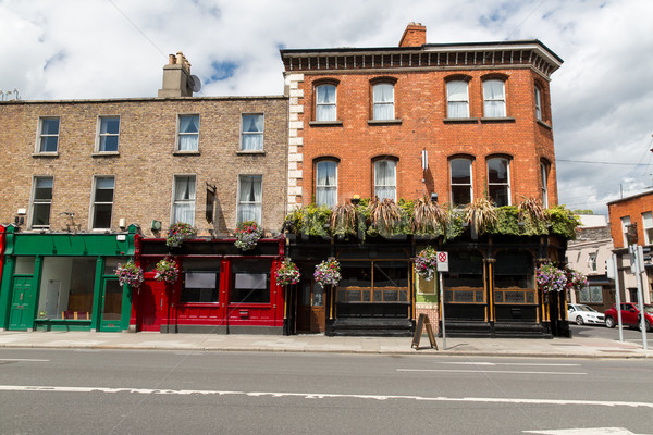 building with bar or pub on street of Dublin city Stock photo © dolgachov