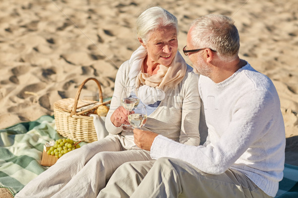Stockfoto: Gelukkig · picknick · zomer · strand · familie