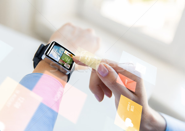 close up of female hands with news on smart watch Stock photo © dolgachov