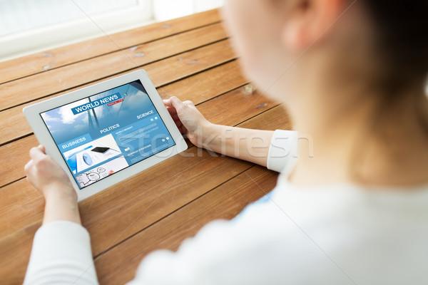 Kadın dünya haber teknoloji Stok fotoğraf © dolgachov