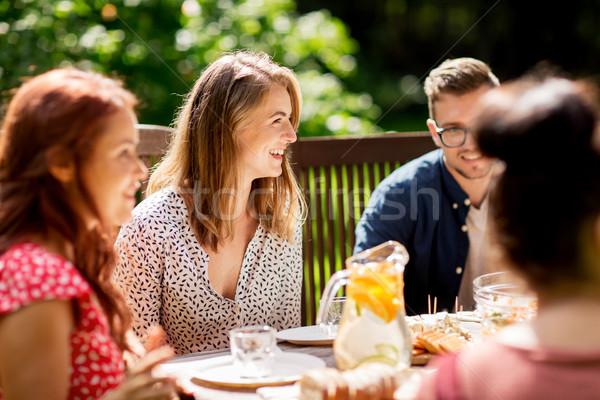 Photo stock: Heureux · amis · dîner · été · garden · party · loisirs
