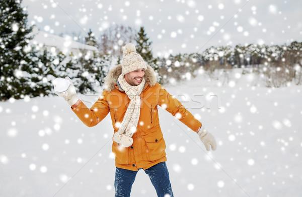 Feliz moço jogar inverno pessoas temporada Foto stock © dolgachov